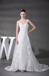 Antique Hall A-line Thick Straps Backless Organza Court Train Bridal Gowns