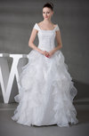 Antique Hall Princess Portrait Sleeveless Organza Floor Length Bridal Gowns