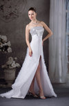 Casual Outdoor A-line Strapless Sleeveless Backless Brush Train Bridal Gowns