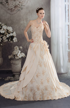 Fresh Salmon Disney Princess Church A Line Sweetheart Backless Chiffon Satin Flower Bridal Gowns
