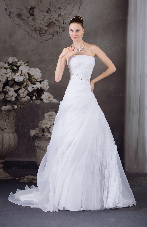 Cinderella Hall Strapless Zip up Organza Court Train Ruching Bridal ...