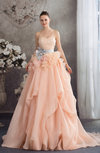 Cute Outdoor A-line Organza Sweep Train Flower Bridal Gowns