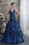 Gorgeous Garden Halter Sleeveless Lace up Floor Length Pearls Bridal Gowns