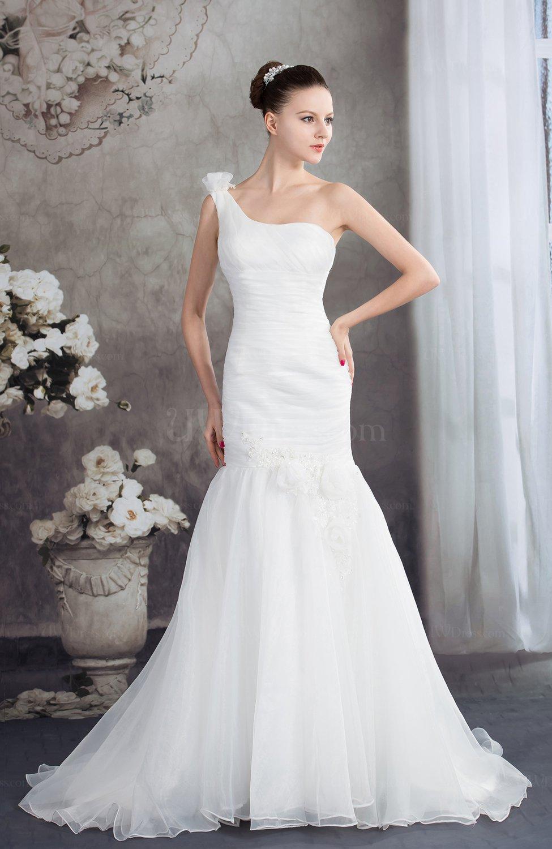 Romantic hall trumpet sleeveless backless organza for Organza trumpet wedding dress