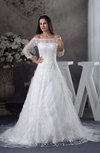Romantic Church Princess Illusion 3/4 Length Sleeve Chapel Train Bridal Gowns
