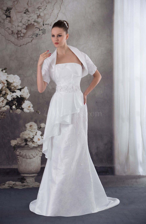 Cream elegant hall column strapless backless taffeta sweep for Sweep train wedding dress