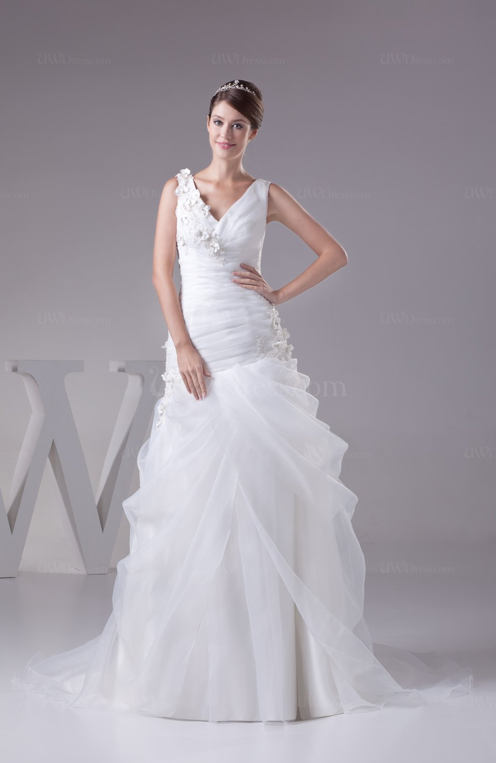 Gorgeous garden a line zip up organza ruching bridal gowns for A line wedding dress with ruching