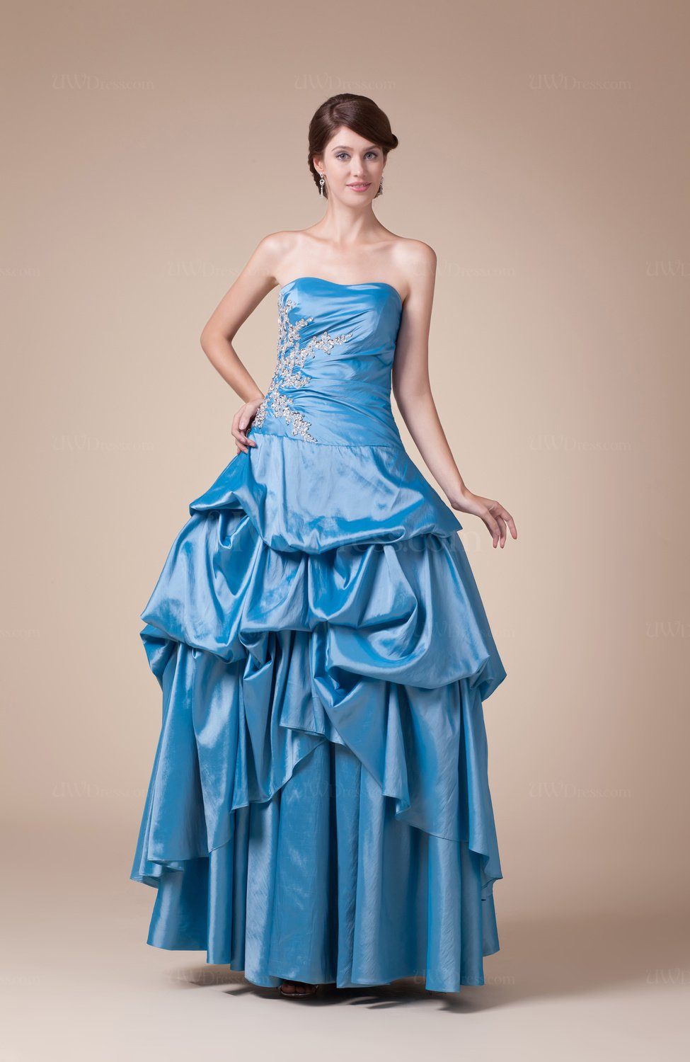 Cinderella outdoor strapless sleeveless backless taffeta for Strapless taffeta wedding dress