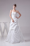 Glamorous Outdoor A-line Lace up Taffeta Sequin Bridal Gowns