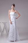 Classic Garden Sheath Sleeveless Backless Sweep Train Sash Bridal Gowns
