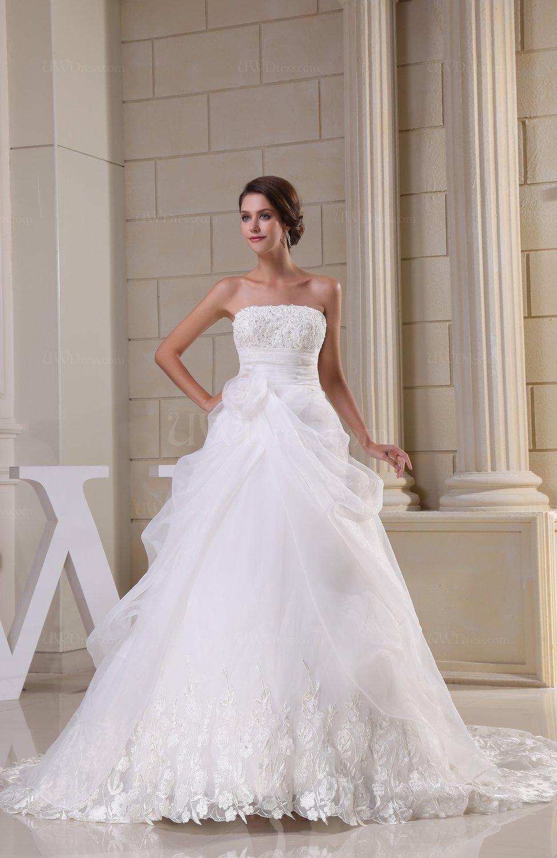 Elegant hall ball gown strapless sleeveless chapel train for Chapel train wedding dress