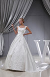 Gorgeous Hall Full Skirt Sleeveless Zip up Satin Cathedral Train Bridal Gowns