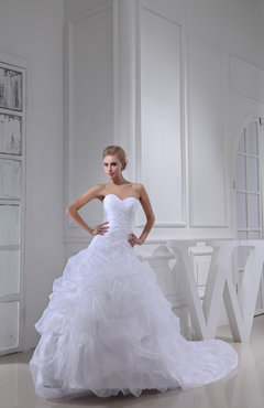 White Fairytale Church Ball Gown Sleeveless Organza Beaded Bridal Gowns