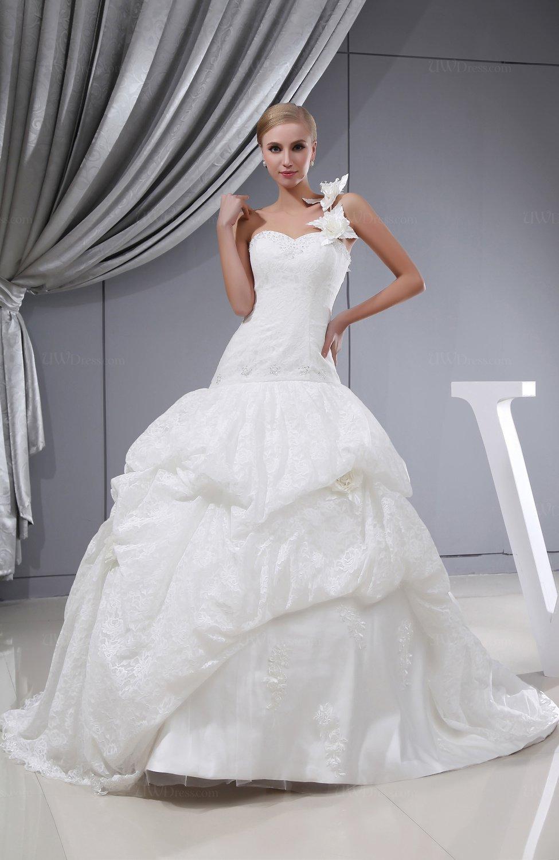 Elegant church ball gown chapel train lace bridal gowns for Chapel train wedding dresses