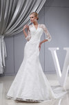 Gorgeous Hall 3/4 Length Sleeve Lace up Chapel Train Bridal Gowns