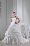 Simple Hall Strapless Sleeveless Zipper Chapel Train Ruching Bridal Gowns