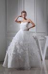 Elegant Church Full Skirt Sleeveless Lace up Floor Length Flower Bridal Gowns