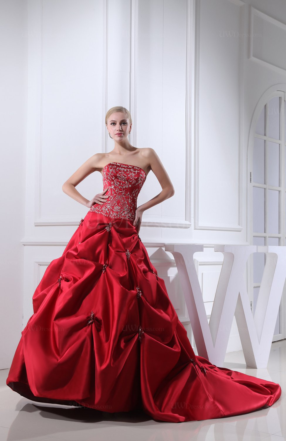 Red Gorgeous Church A-line Strapless Satin Cathedral Train ...