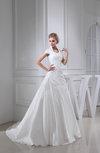 Modest Hall A-line Short Sleeve Chapel Train Paillette Bridal Gowns