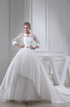 Gorgeous Hall Strapless 3/4 Length Sleeve Cathedral Train Beading Bridal Gowns