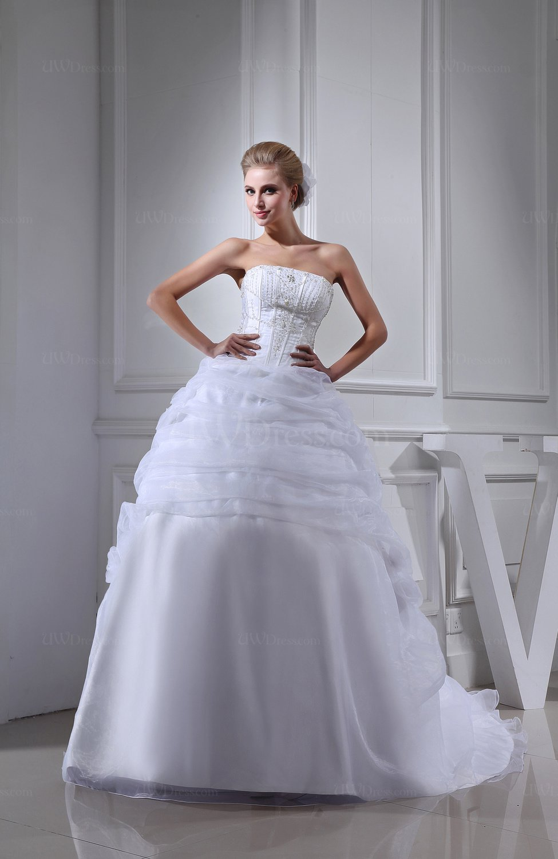 White glamorous church ball gown strapless sleeveless for Strapless backless wedding dress