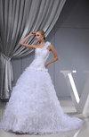 Romantic Hall Princess One Shoulder Sleeveless Chapel Train Flower Bridal Gowns