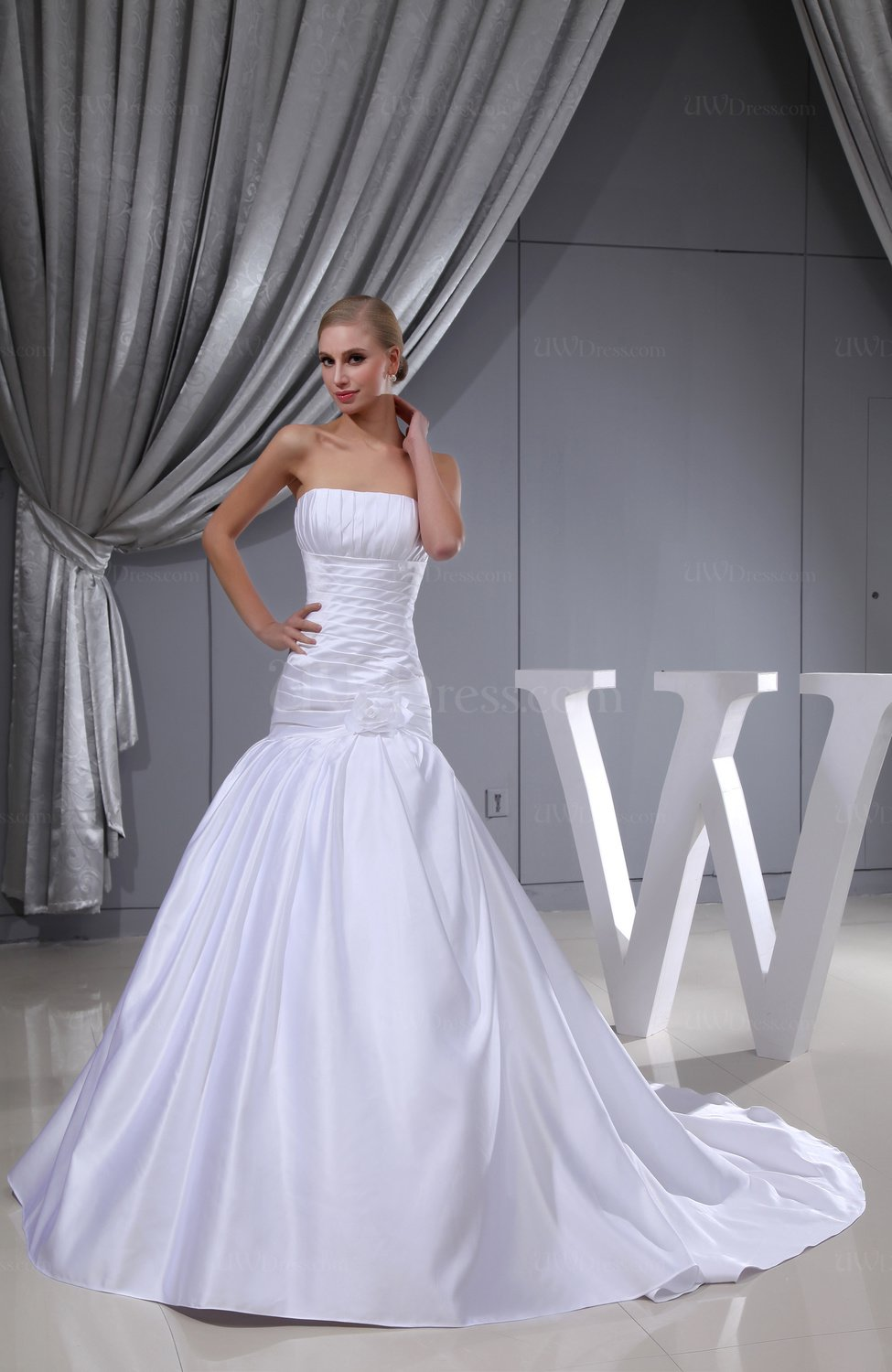 White plain church fit n flare zip up satin ruching bridal for Satin fit and flare wedding dress