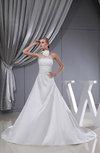 Modest Church A-line Sleeveless Taffeta Chapel Train Bridal Gowns