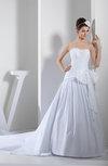 Elegant Church Sleeveless Zipper Taffeta Chapel Train Paillette Bridal Gowns