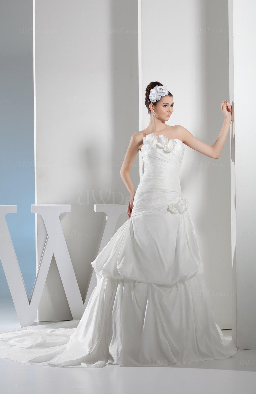 White elegant church a line strapless sleeveless backless for Strapless backless wedding dress