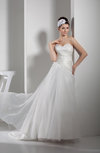 Elegant Church A-line Sweetheart Organza Court Train Bridal Gowns