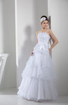 Cute Garden A-line Sleeveless Backless Organza Embroidery Bridal Gowns