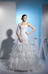Cinderella Church Sweetheart Backless Organza Court Train Ruching Bridal Gowns