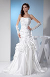 Modern Church Strapless Sleeveless Zipper Silk Like Satin Court Train Bridal Gowns