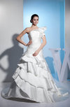 Elegant Hall Princess One Shoulder Zip up Satin Chapel Train Bridal Gowns