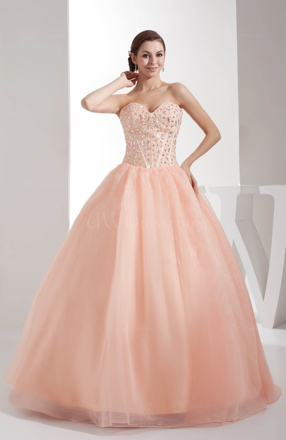 Fresh Salmon Classic Ball Gown Backless Satin Floor Length Sweet 16 ...