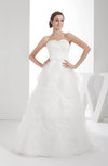 Gorgeous Outdoor Princess Sweetheart Backless Organza Plainness Bridal Gowns