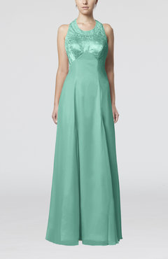 Mint Green Glamorous Halter Sleeveless Backless Floor Length Bridesmaid Dresses