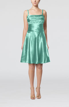Mint Green Elegant A-line Thick Straps Zipper Elastic Woven Satin Bridesmaid Dresses