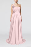 Plain A-line Asymmetric Neckline Chapel Train Sash Prom Dresses