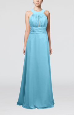 Light Blue Informal A-line Sleeveless Zip up Chiffon Homecoming Dresses