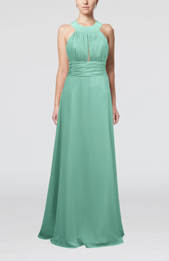 Mint Green Informal A-line Sleeveless Zip up Chiffon Homecoming Dresses
