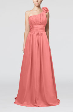 Coral Cute A-line Asymmetric Neckline Sleeveless Chiffon Pleated Bridesmaid Dresses