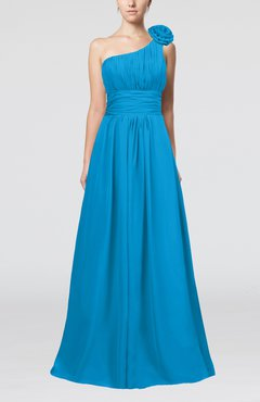 Cornflower Blue Cute A-line Asymmetric Neckline Sleeveless Chiffon Pleated Bridesmaid Dresses