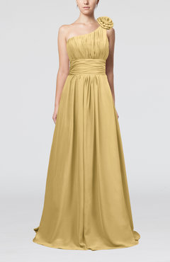 Gold Cute A-line Asymmetric Neckline Sleeveless Chiffon Pleated Bridesmaid Dresses