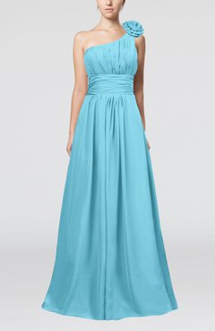 Light Blue Cute A-line Asymmetric Neckline Sleeveless Chiffon Pleated Bridesmaid Dresses