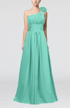 Mint Green Cute A-line Asymmetric Neckline Sleeveless Chiffon Pleated Bridesmaid Dresses