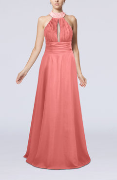 Coral Elegant A-line Sleeveless Zip up Floor Length Evening Dresses