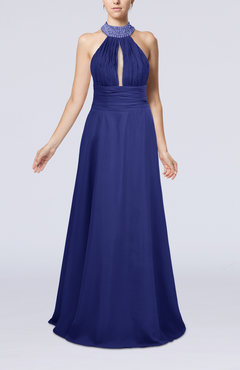 Electric Blue Elegant A-line Sleeveless Zip up Floor Length Evening Dresses