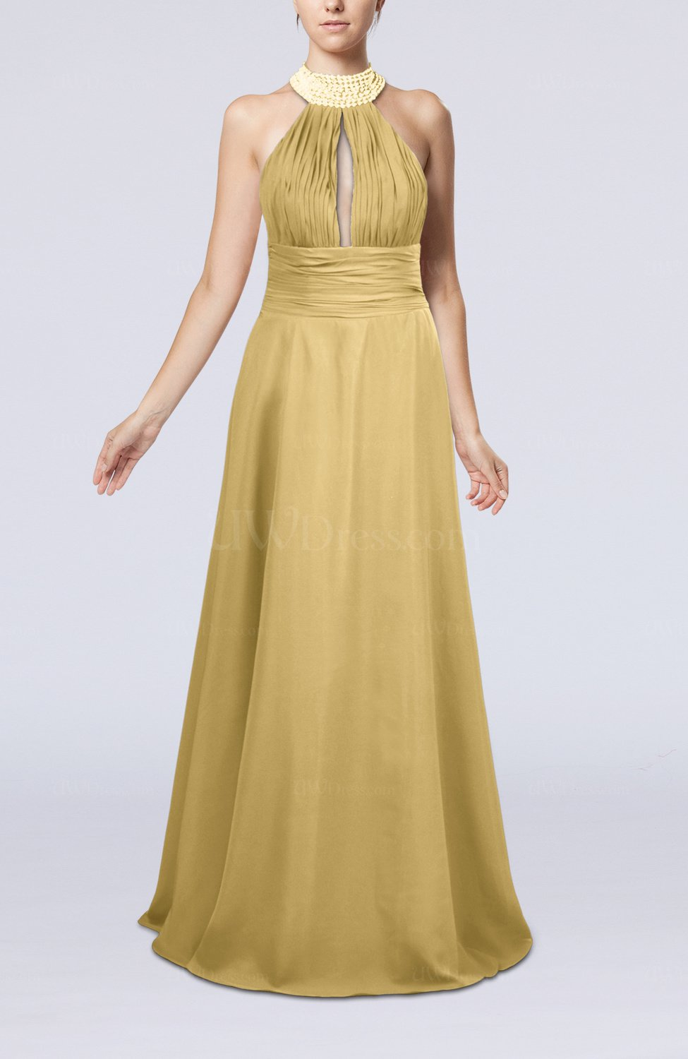 Gold Elegant A Line Sleeveless Zip Up Floor Length Evening